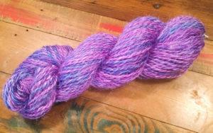 Handspun purple, glittery, yarn